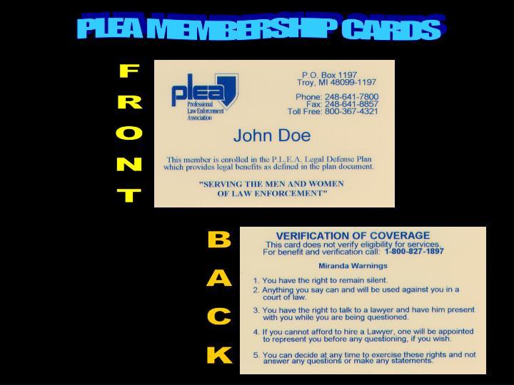 PLEA  MEMBERSHIP  CARDS