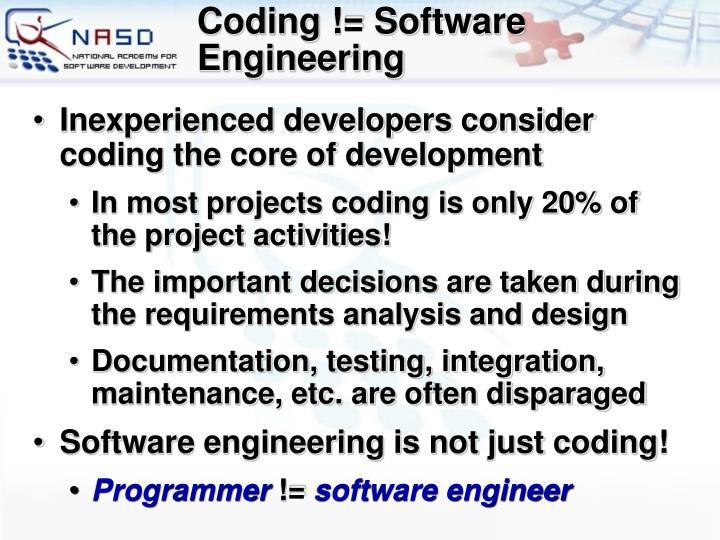 Coding != Software Engineering