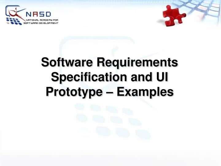 Software Requirements Specification and UI Prototype – Examples