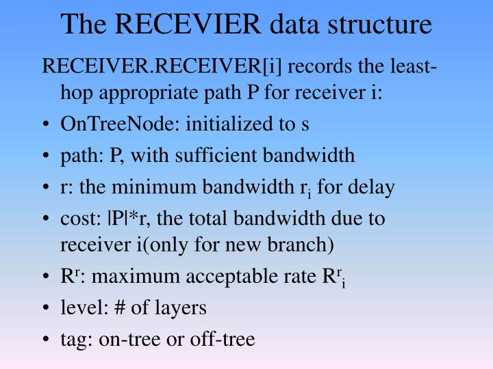 The RECEVIER data structure