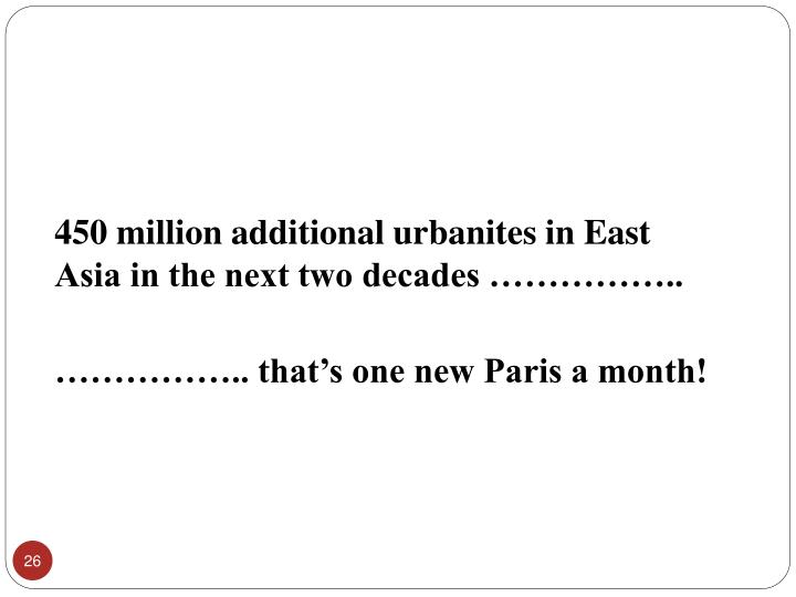 450 million additional urbanites in East Asia in the next two decades ……………..