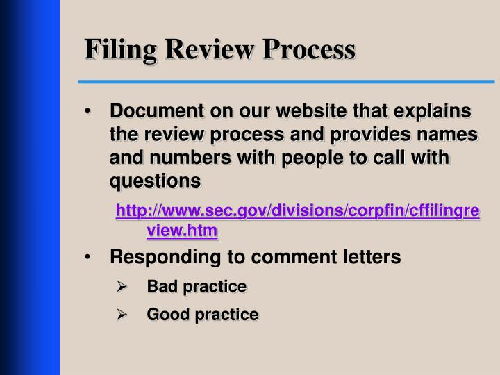 Filing Review Process