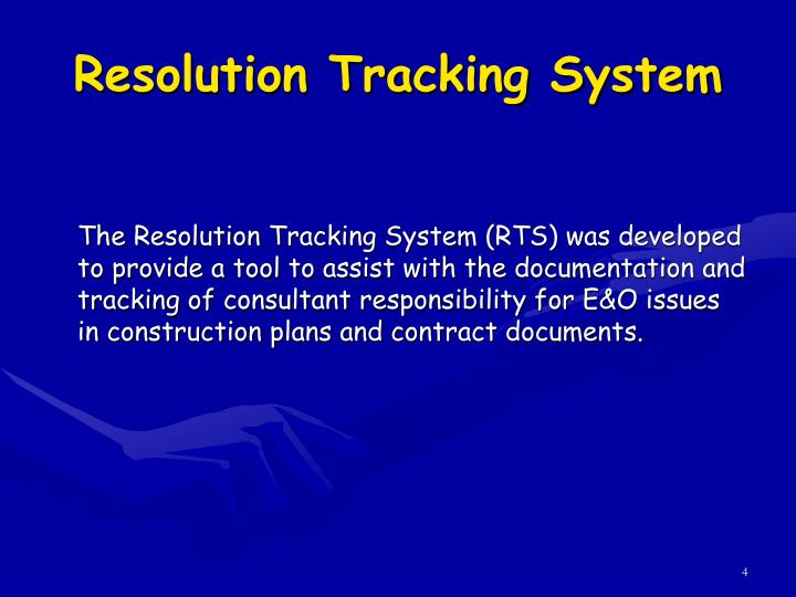 Resolution Tracking System