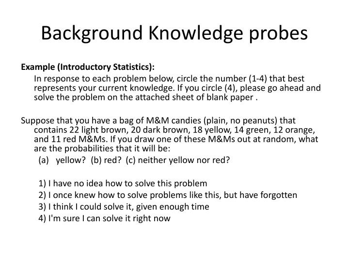 Background Knowledge probes