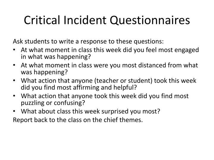 Critical Incident Questionnaires
