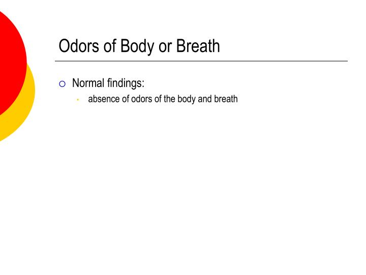 Odors of Body or Breath