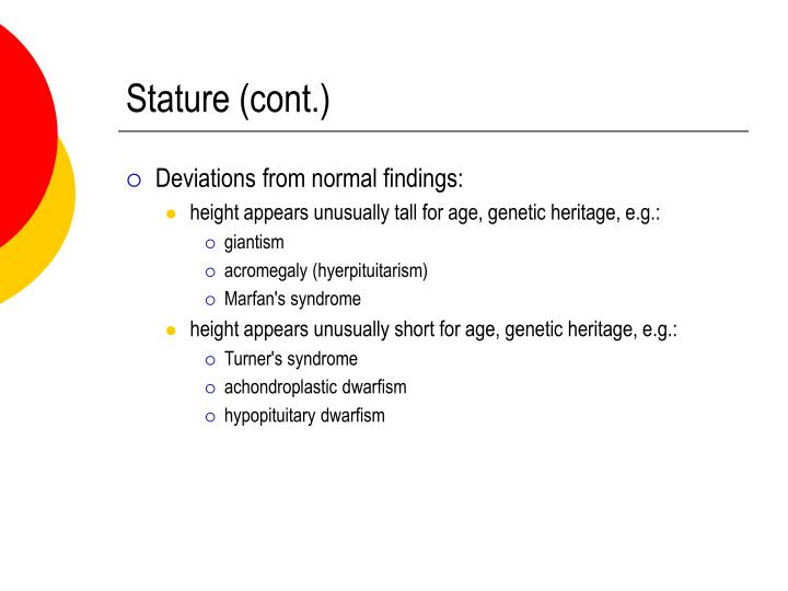 Stature (cont.)