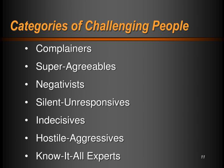 Categories of Challenging People