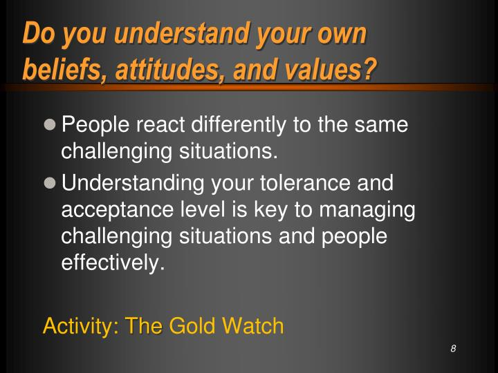 Do you understand your own beliefs, attitudes, and values?