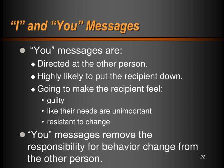 """""""I"""" and """"You"""" Messages"""
