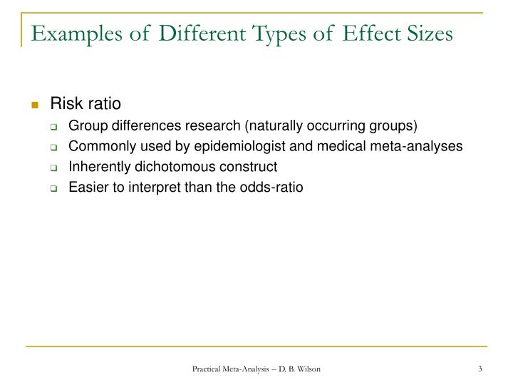 Examples of different types of effect sizes1