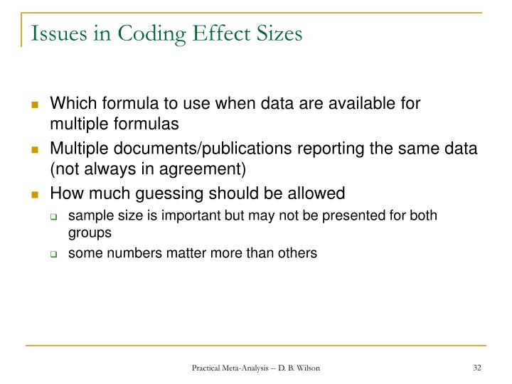 Issues in Coding Effect Sizes