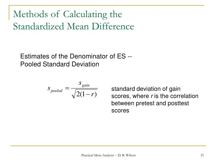Methods of Calculating the