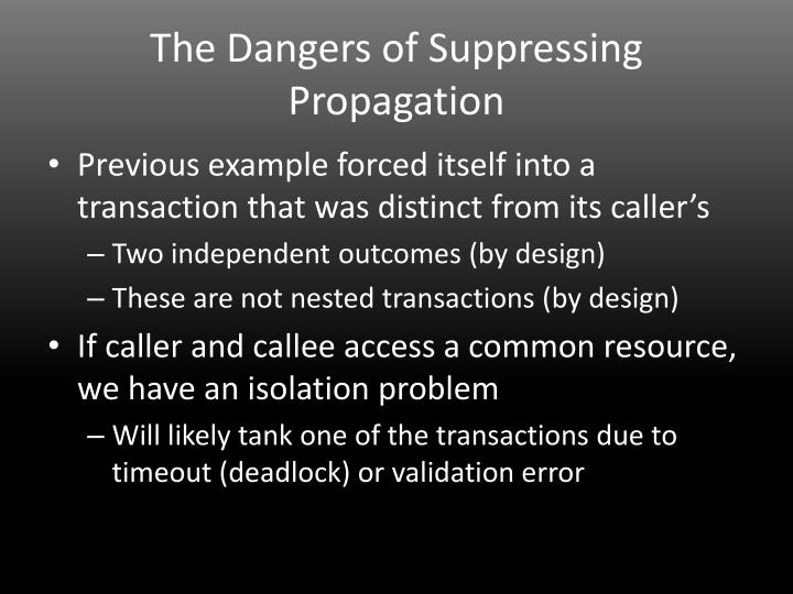 The Dangers of Suppressing Propagation