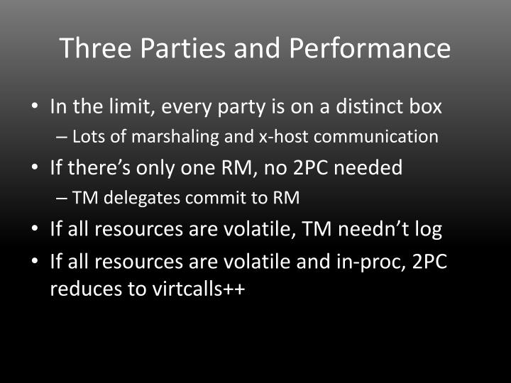 Three Parties and Performance