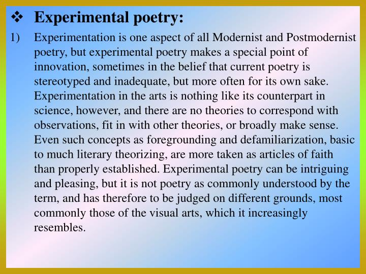 Experimental poetry: