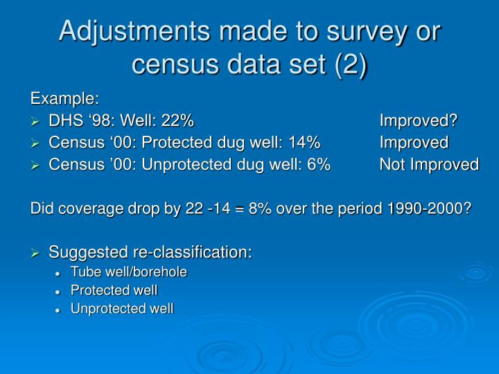Adjustments made to survey or census data set (2)