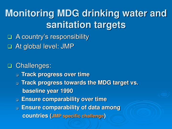 Monitoring MDG drinking water and sanitation targets