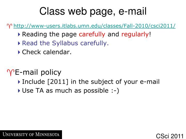 Class web page, e-mail