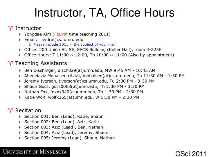 Instructor ta office hours