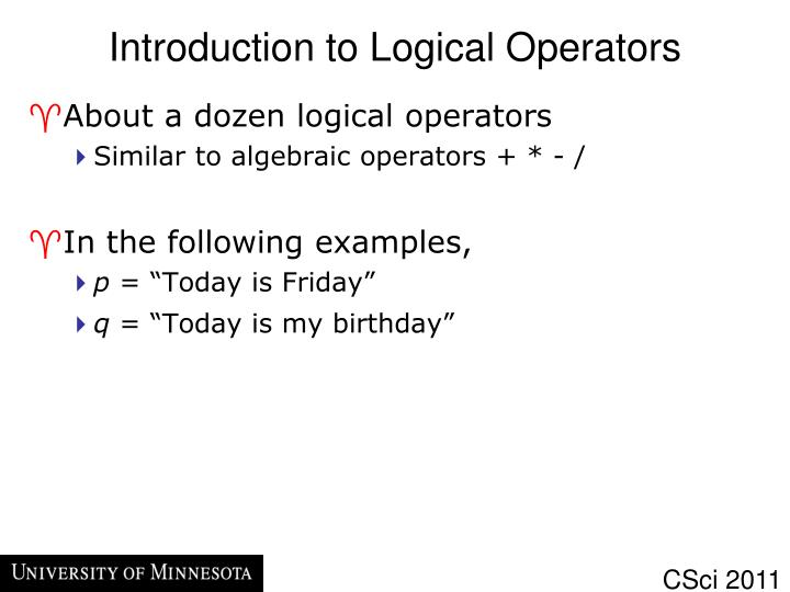 Introduction to Logical Operators