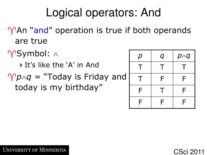 Logical operators: And