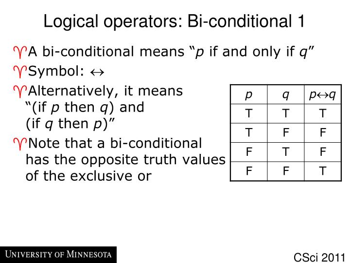 Logical operators: Bi-conditional 1
