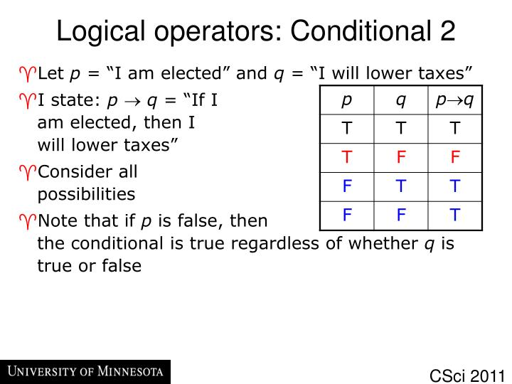 Logical operators: Conditional 2