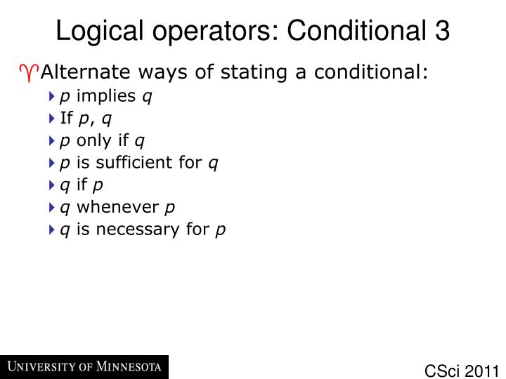 Logical operators: Conditional 3