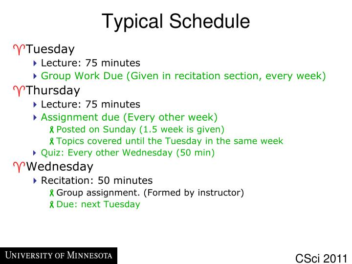Typical Schedule