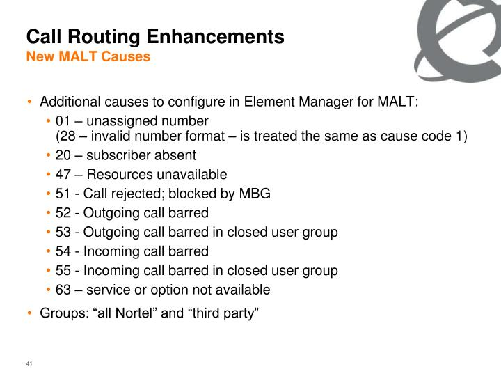 Call Routing Enhancements