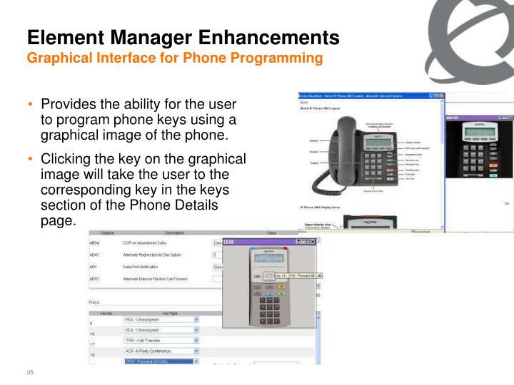 Element Manager Enhancements