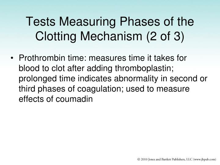 Tests Measuring Phases of the Clotting Mechanism (2 of 3)