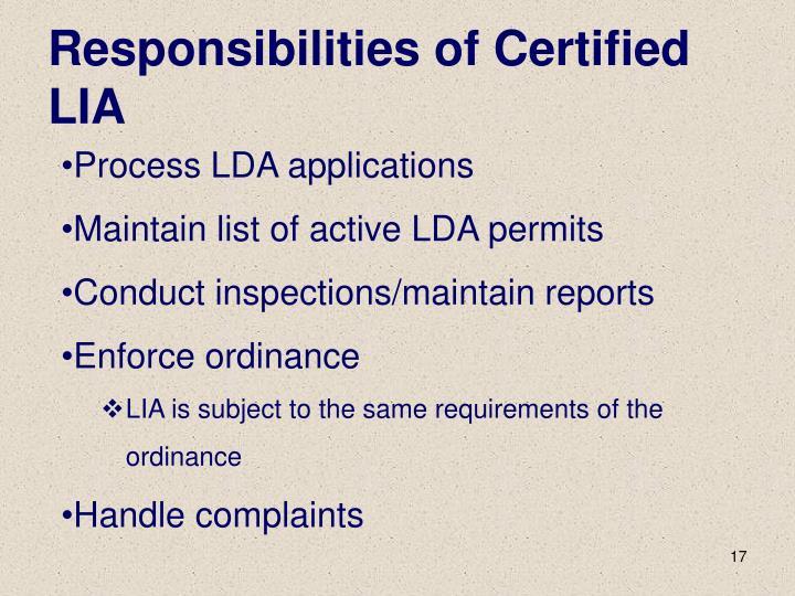 Responsibilities of Certified LIA