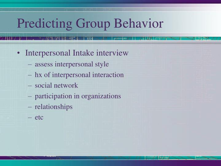 Predicting Group Behavior