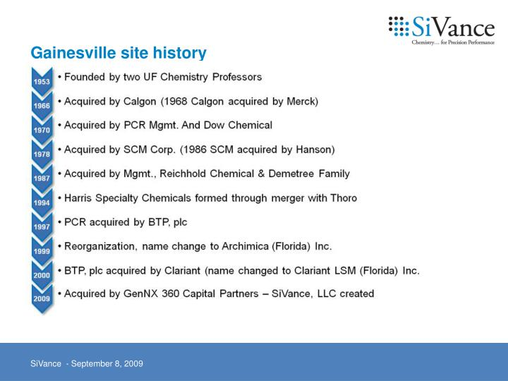 Gainesville site history