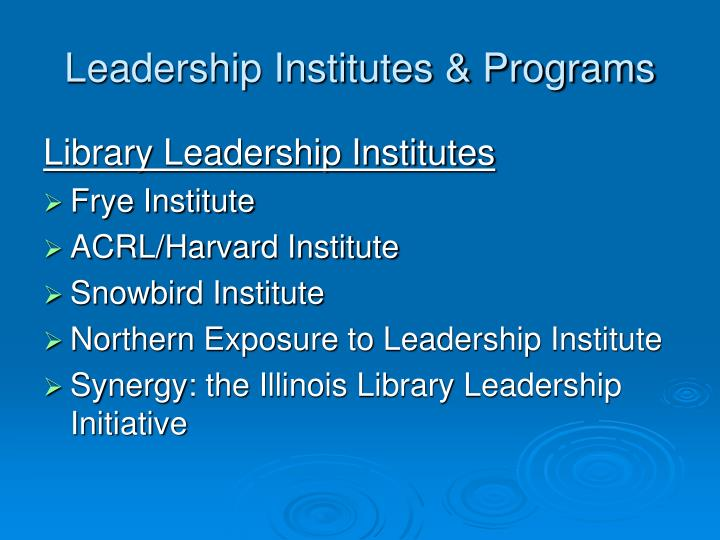 Leadership Institutes & Programs