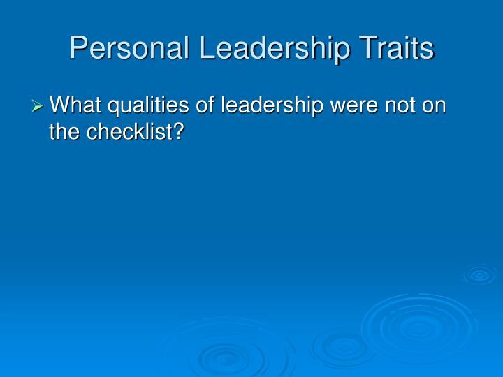 Personal Leadership Traits