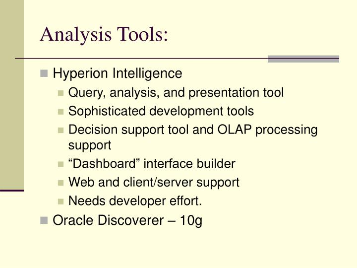 Analysis Tools: