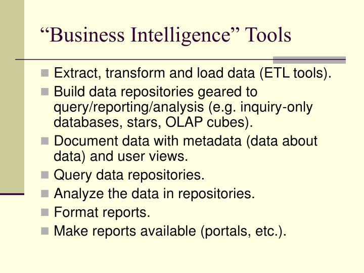 """Business Intelligence"" Tools"