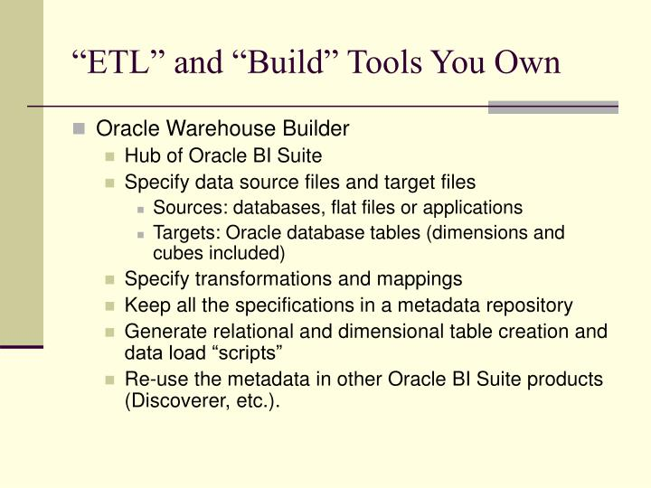 """""""ETL"""" and """"Build"""" Tools You Own"""