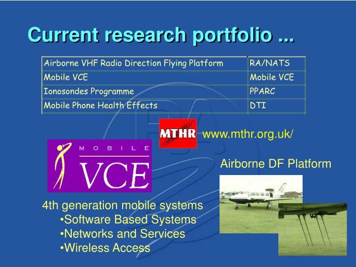 Current research portfolio ...