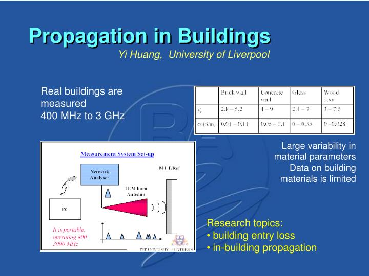 Propagation in Buildings