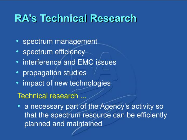 RA's Technical Research