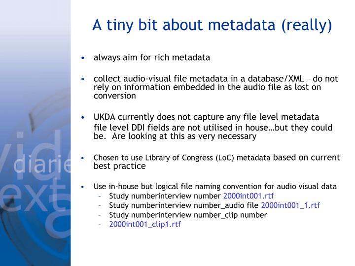 A tiny bit about metadata (really)