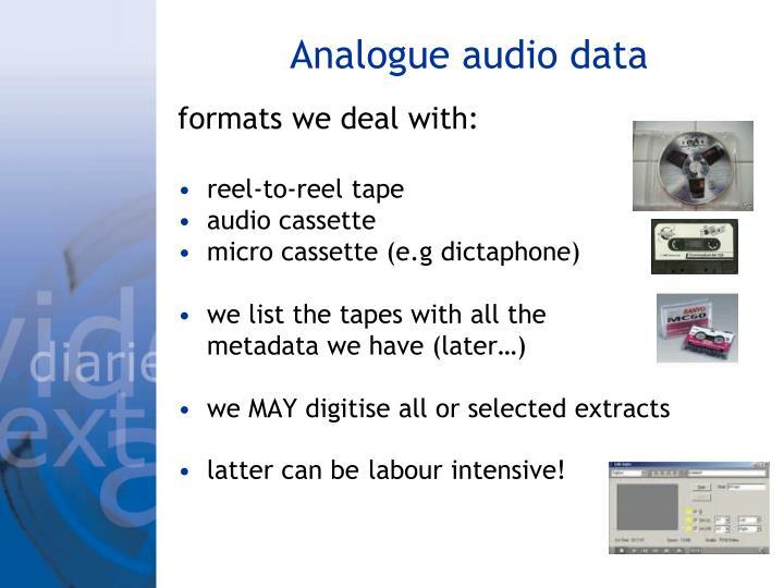 Analogue audio data