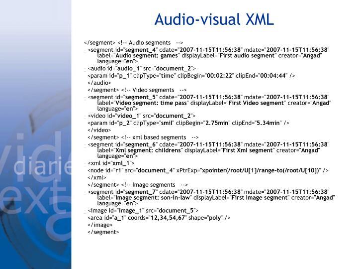 Audio-visual XML