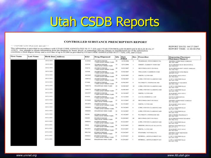 Utah CSDB Reports
