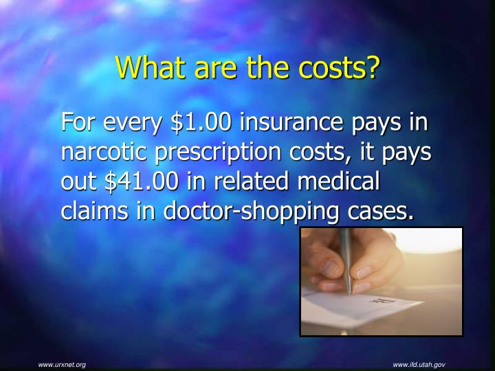 For every $1.00 insurance pays in narcotic prescription costs, it pays out $41.00 in related medical claims in doctor-shopping cases.