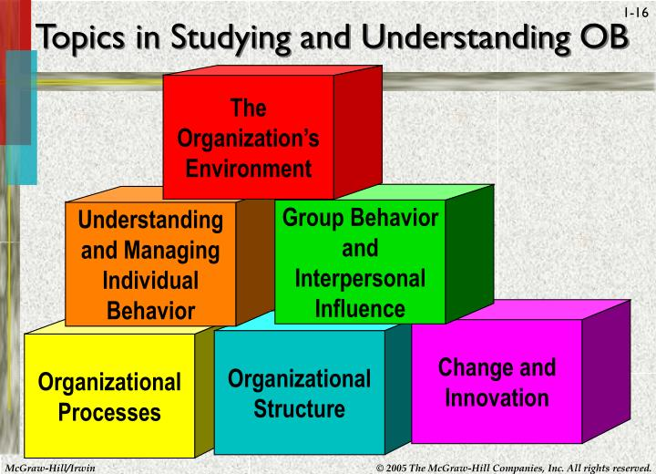Topics in Studying and Understanding OB
